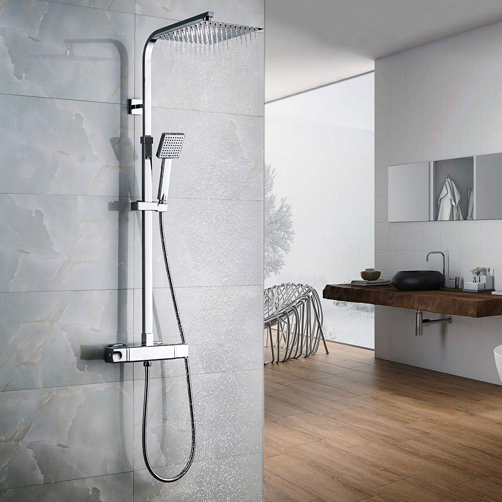 Auralum Columna de ducha termostática Juegos de ducha Mezclador Ducha en acero inoxidable 304 Columna de baño