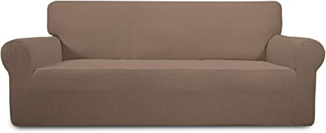 Brown) Washable Furniture Protector with Non Skid Foam and Elastic Bottom for Kids Spandex Non Slip Soft Couch Sofa Cover Pets (Loveseat PureFit Super Stretch Loveseat Sofa Slipcover