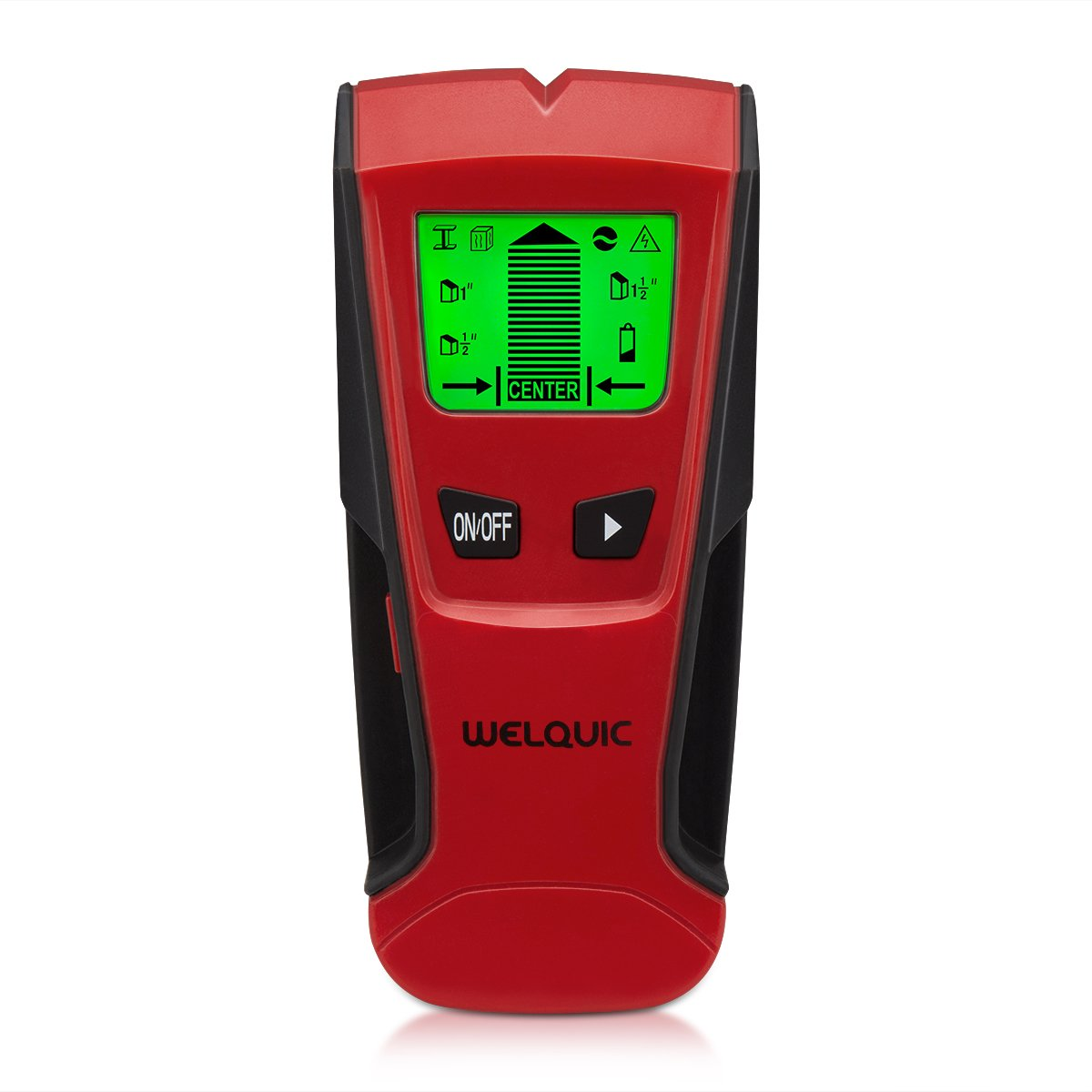 WELQUIC Stud Finder Electric Center finding with 3 in 1 Metal AC Wires Wood Detector with Backlit LCD Screen and Beeping Signal Alert Black and Red