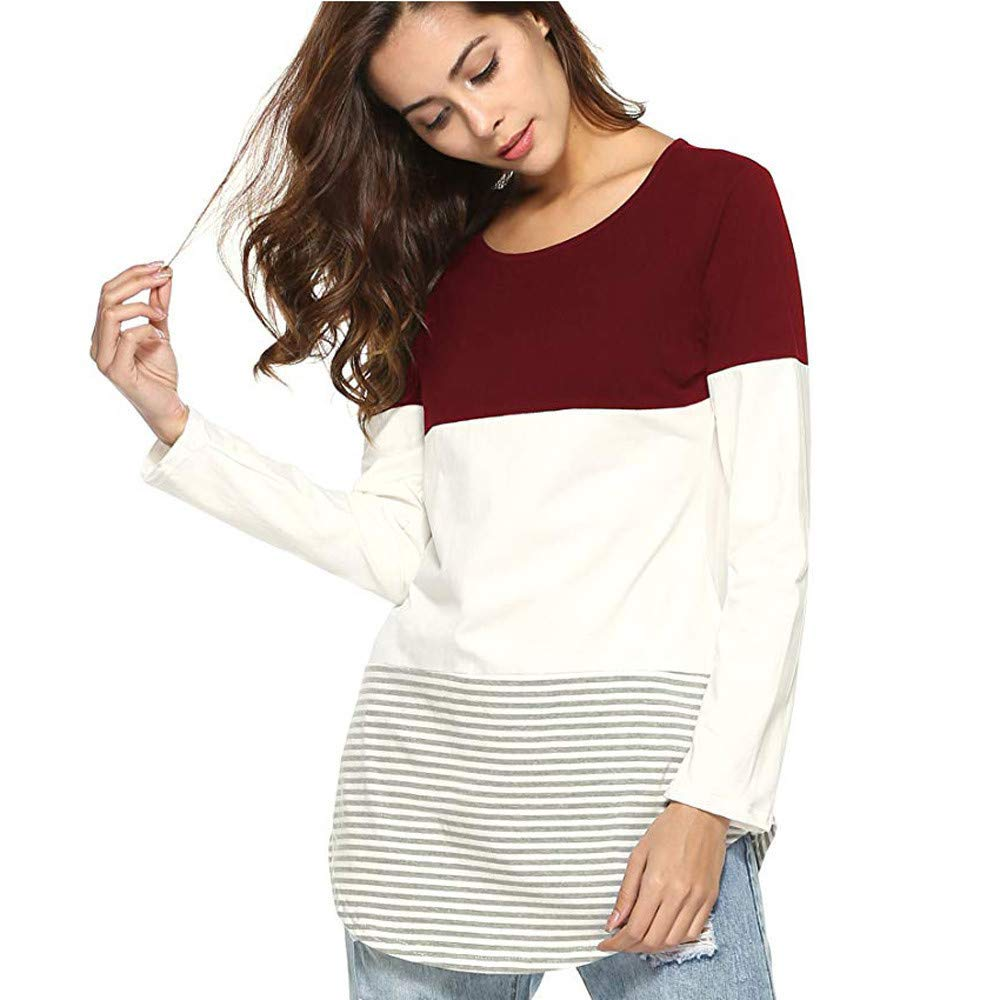 Womens Tops 2019 Women Vintage Striped Long Sleeve Blouse Clothes Streetwear Tunic Ladies Tops