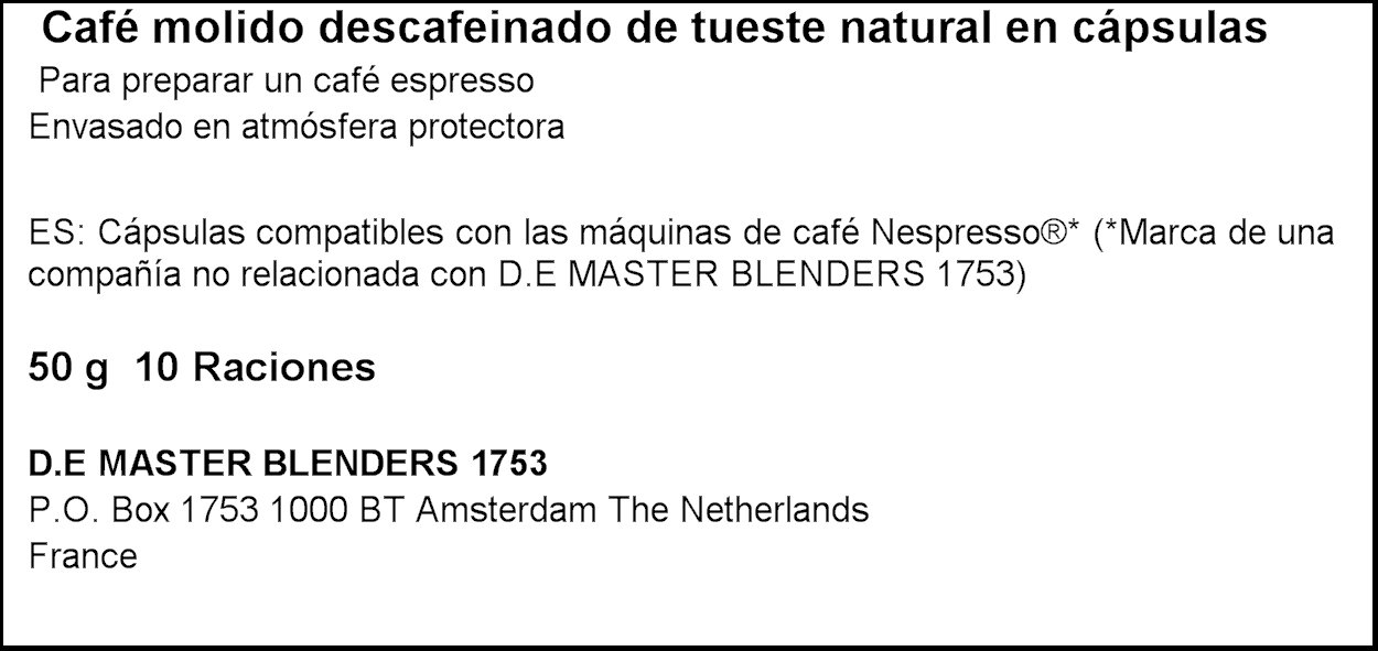 LOr Café Espresso Decaffeinato, Intensidad 6, 10 Cápsulas ...
