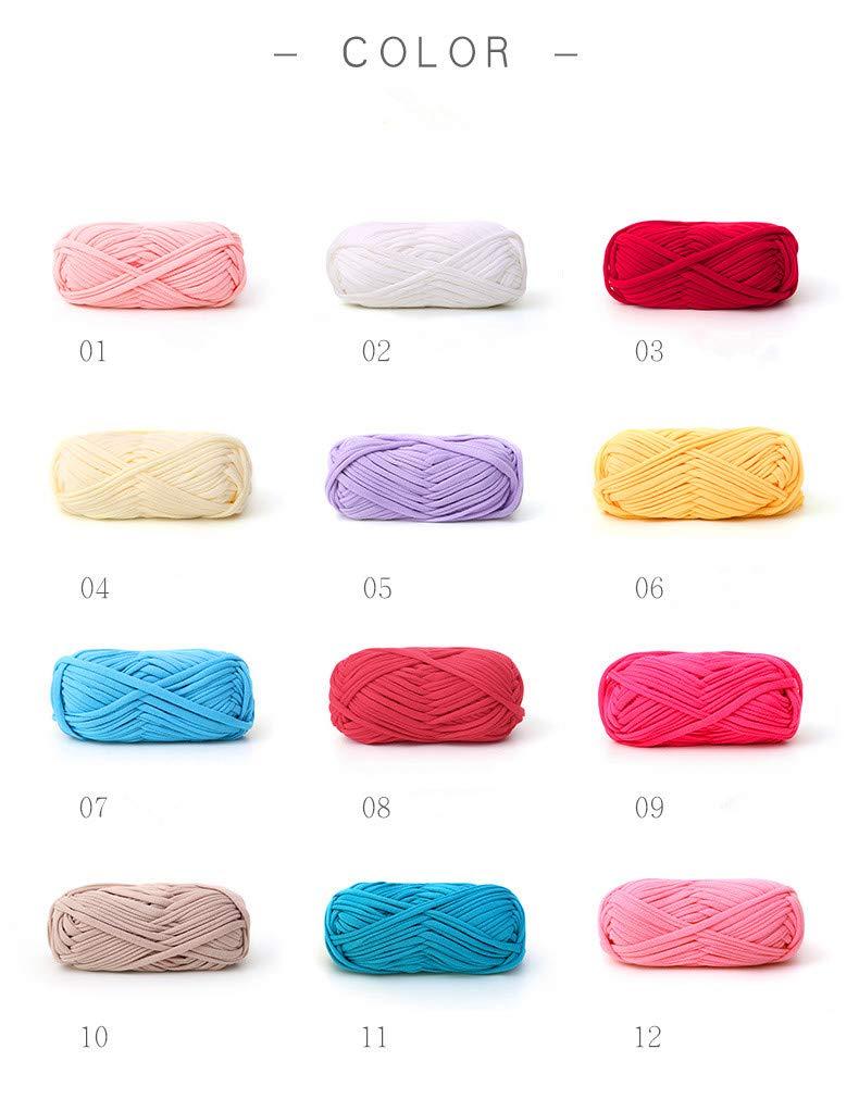 T-Shirt Yarn Set-10 Balls, Knitting Yarn Macrame T-Yarn for Crocheting Hand-Knit Woven Thread Thick Basket Blanket Braided DIY Cloth Fancy Yarn (10)