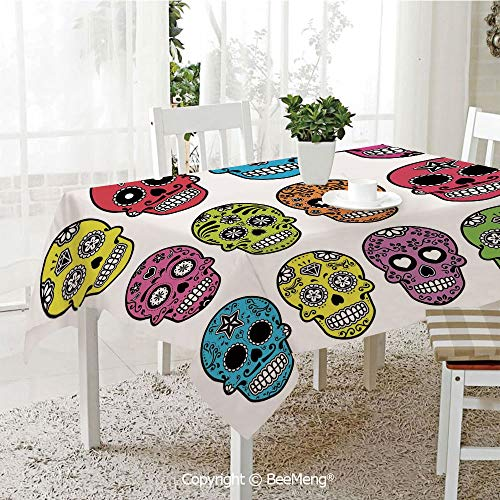 BeeMeng Spring and Easter Dinner Tablecloth,Kitchen Table Decoration,Skull,Ornate Colorful Traditional Mexian Halloween Skull Icons Dead Humor Folk Art Print,Multi,59 x 83 inches for $<!--$33.39-->