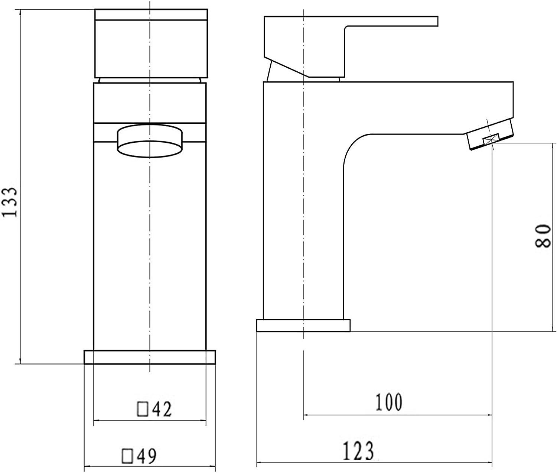 Basin Tap Modern 400mm 1-Door Wall Hung Bathroom Vanity Unit Basin Sink Gloss White Cloakroom