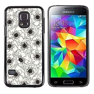 Be Good Phone Accessory // Dura Cáscara cubierta Protectora Caso Carcasa Funda de Protección para Samsung Galaxy S5 Mini, SM-G800, NOT S5 REGULAR! // White Black Art Drawing Flower