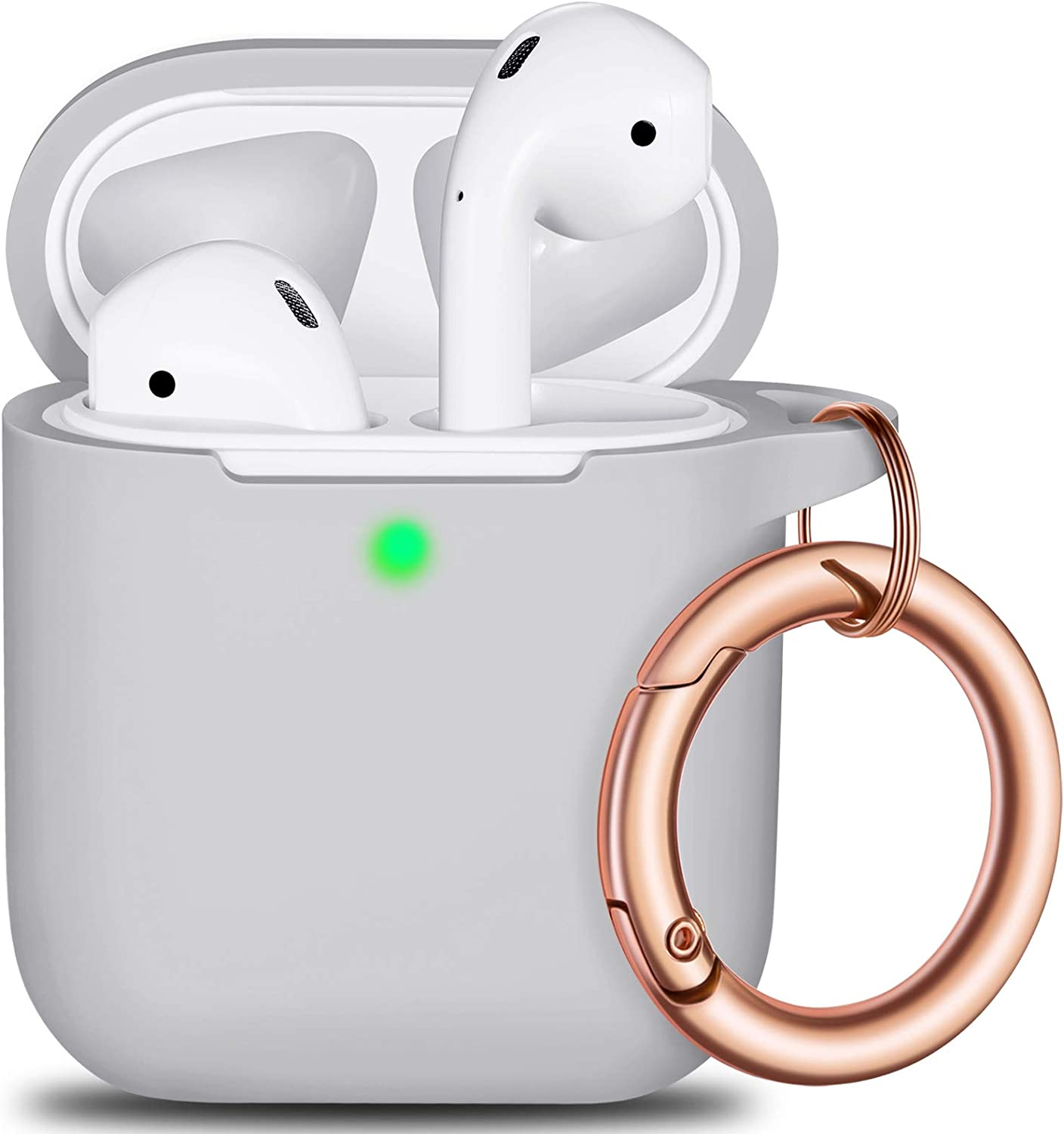 AirPods Case Cover Keychain, Full Protective Silicone AirPods Accessories Skin Cover for Women Girl with Apple AirPods Wireless Charging Case,Front LED Visible-Pebble