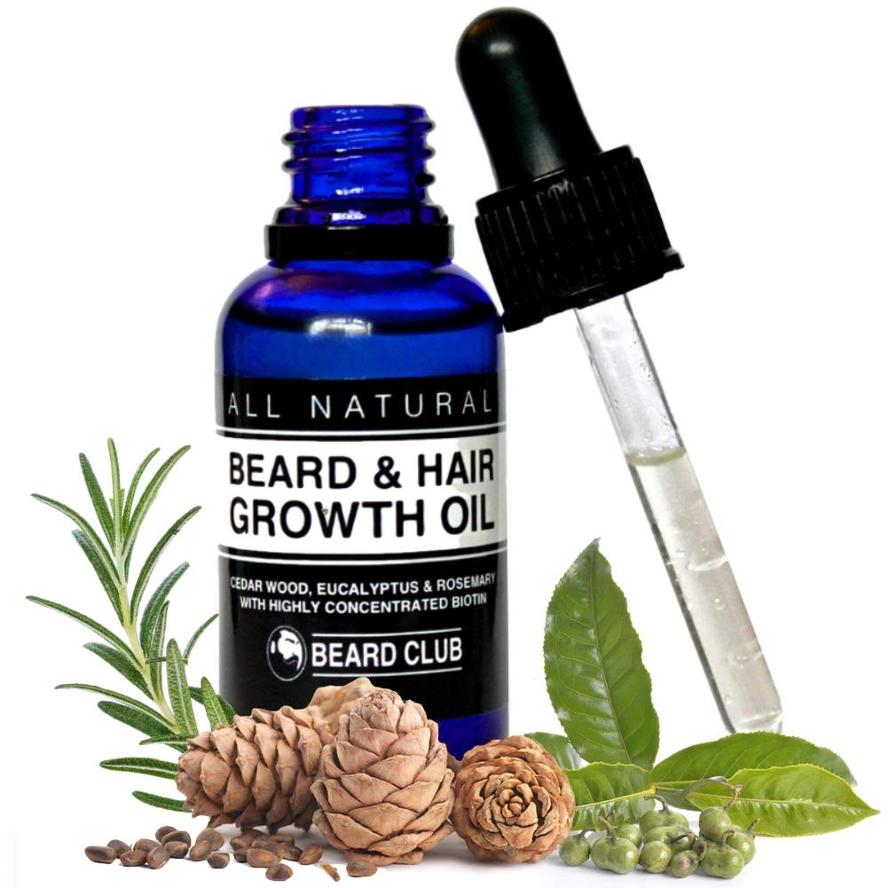 Hair & Beard Growth Oil | 30ml | With Highly Concentrated Biotin | Scented with Cedarwood, Eucalyptus & Rosemary | The Best Solution to a Patchy Beard | + Bonus eBook The Beard Growers Diet Plan