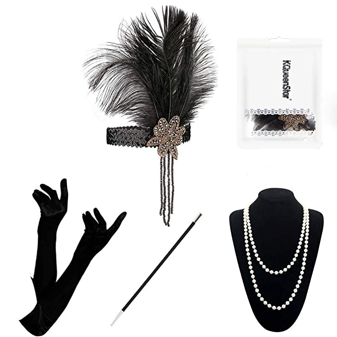 1920s Headband, Headpiece & Hair Accessory Styles UK- 1920 Accessories Set - 1920s Flapper Costume Long GlovesPearl NecklaceBlack Cigarette Holder Vintage Fancy Dress For Women £13.99 AT vintagedancer.com
