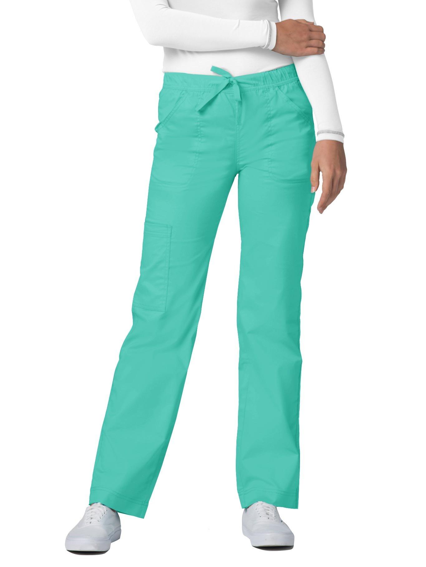 Adar Pop-Stretch Junior Fit Mid Rise Straight Leg Drawstring Cargo Pants - 3106 - Sea Glass - S