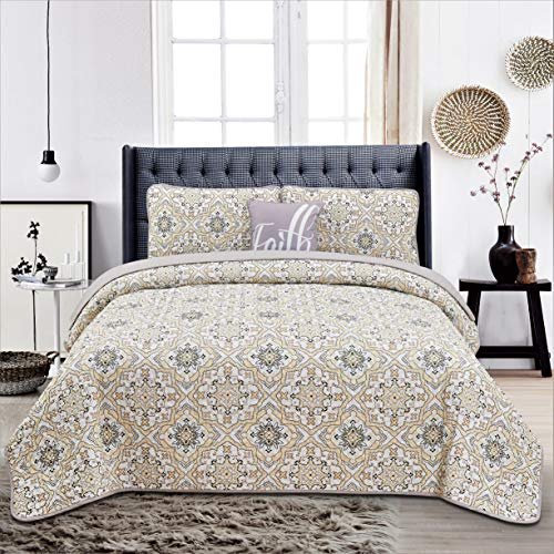 Hannah Linen 4 Piece Down Alternative Quilt Set with Shams and Decorative Pillow - Premium Quality - Hypoallergenic -Plush Microfiber Fill - Machine Washable - (King, Taupe Greyson)