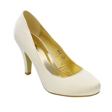 ESSEX GLAM Womens Wedding MID Heel Ladies Bridal White Ivory Party Prom Heels Court Shoes Size