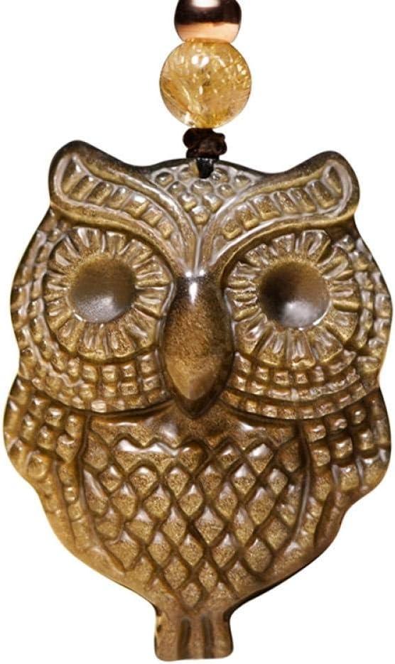 VFJLR Colgante Colgante de Collar de Jade de búho obsidiana Dorada Amuleto Afortunado de Piedras Preciosas de búho Tallado a Mano