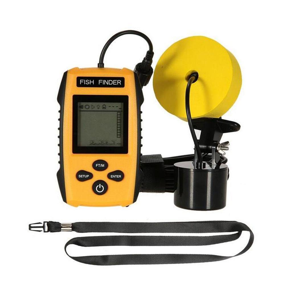 WYXIN Buscador de peces cableado portátil Pantalla LCD Detector de ubicación Fishfinder Fish con Sonda con cable Sensor Transductor para la pesca en el ...