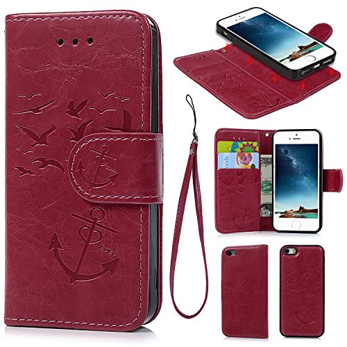 iPhone 5 5S SE Case, iPhone 5 5S SE Wallet Case Premium Synthetic PU Leather Embossed Oil Wax Seagull Anchor Detachable Wallet with Credit Card Cash Slots for iPhone 5 5S SE Hot Pink - Hot Anchor Women