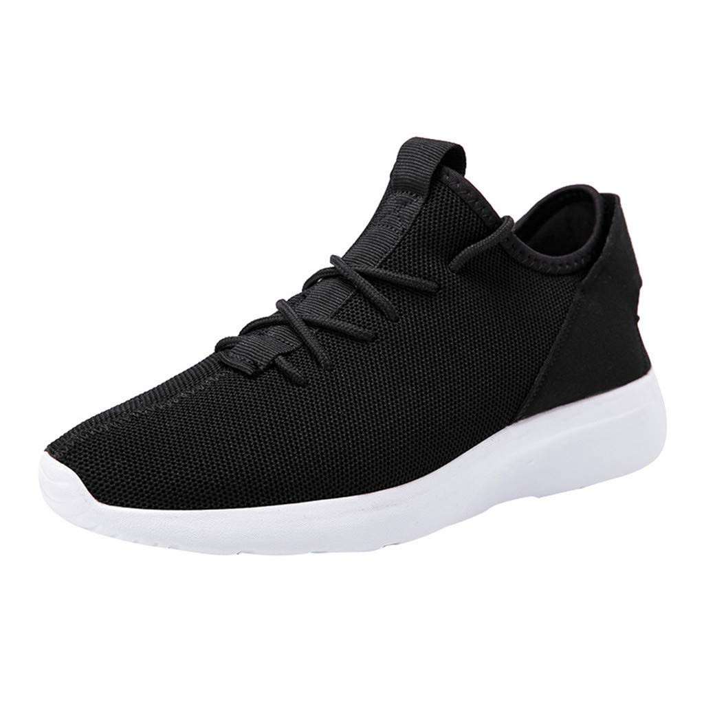 ZOMUSAR Fshion Men Large Size Breathable Woven Lightweight Sneakers Low-Top Running Shoes Black