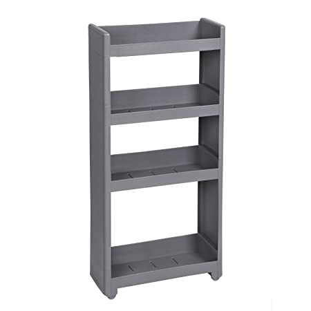songmics rolling trolley narrow storage with 4 shelves for kitchen bathroom cellar kfr10gy rh amazon co uk  narrow shelves for bathroom