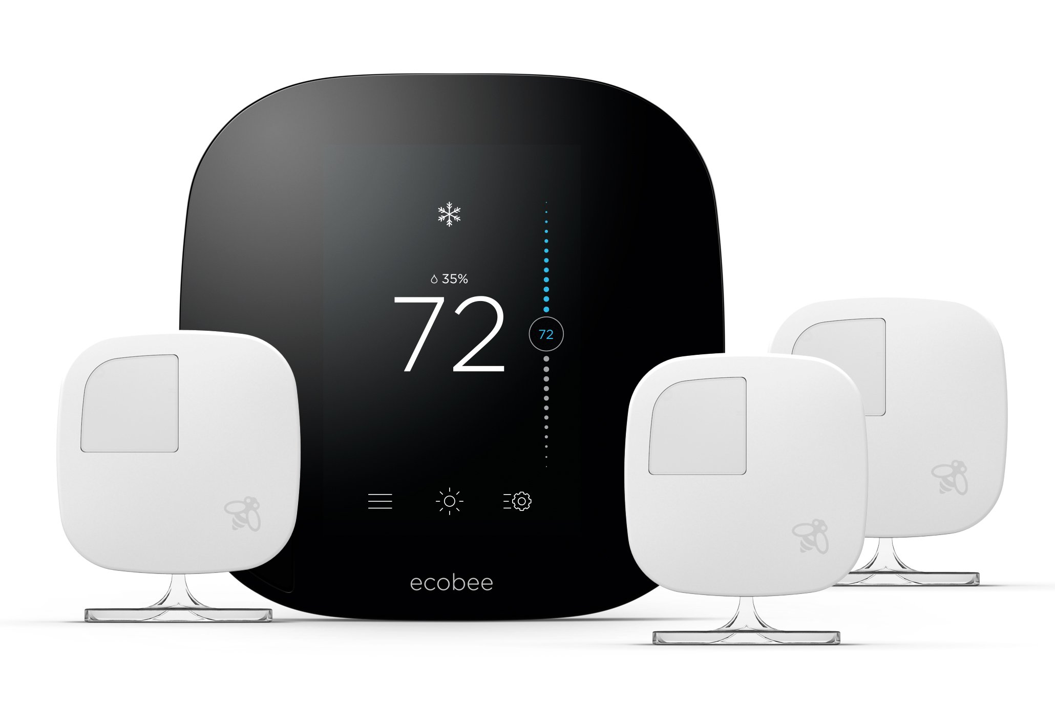 Best Rated In Home Programmable Thermostats Helpful Customer Thermostat Wiring Diagram Moreover Blue Wire On Car Ecobee3 Smart 3 Room Sensors Works With Alexa Product Image