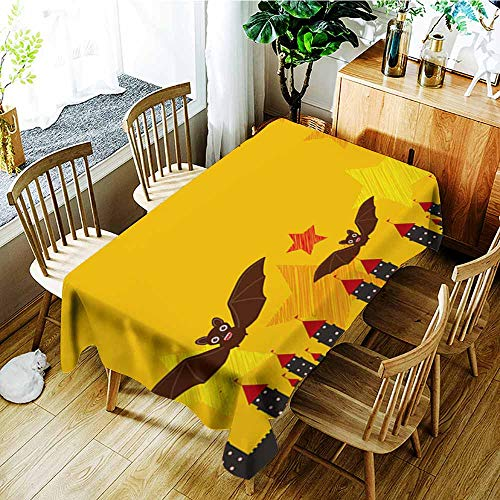 AGONIU Resistant Table Cover,Halloween Card Banner Design for Text with Castle Pumpkin Stars Bats Night Sky Black Yellow Orange red Background Vector,Modern Minimalist,W52x70L -