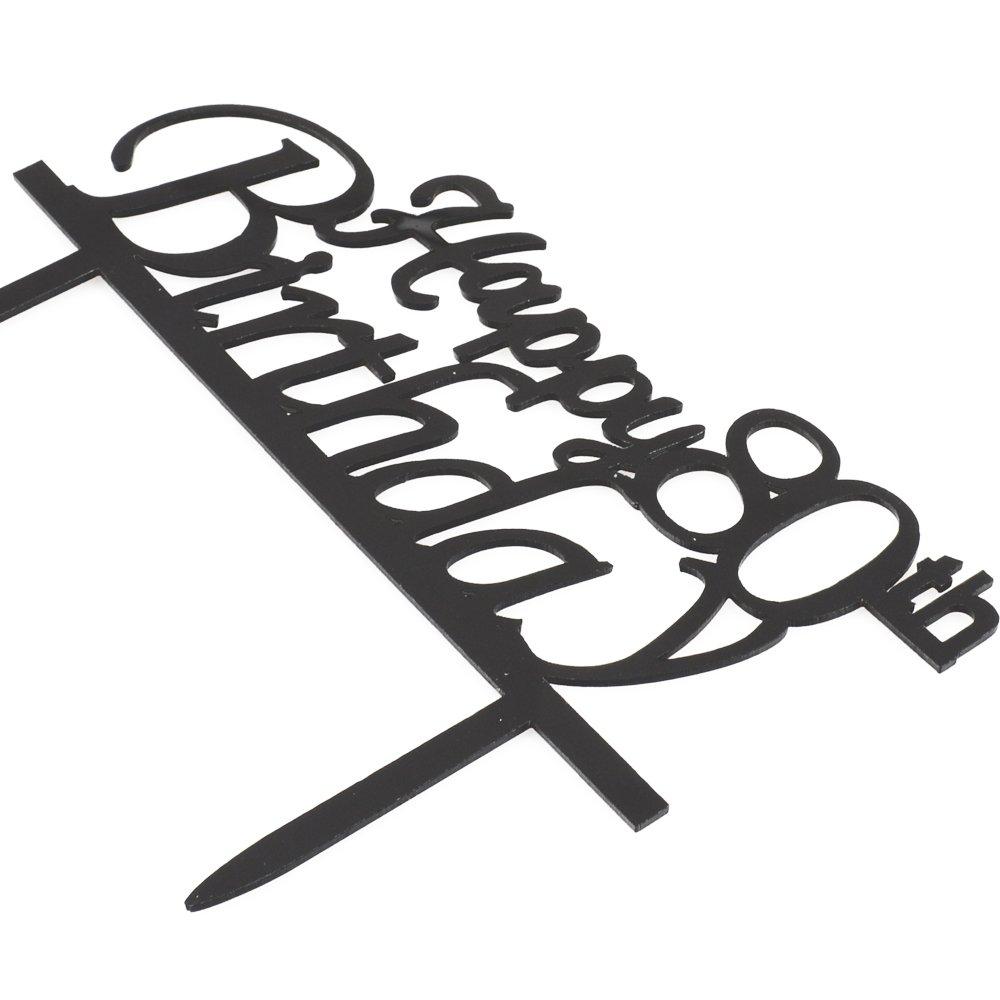 Happy 80th Birthday Cake Topper, Black Acrylic Cake Topper, 80th Birthday Party Decorations by Westlili