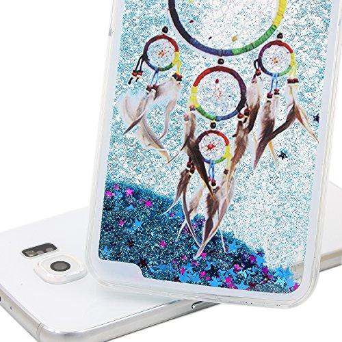 Funda para Galaxy S6, Caja de plástico transparente para Galaxy S6, Galaxy S6 Dual Layer Case Cover Skin Shell Carcasa Funda, Ukayfe Cubierta de la caja Funda protectora de plástico duro caso claro tr Blue Glitter-Campanula tribal