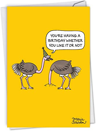 Funny Ostrich Birthday Customised Card