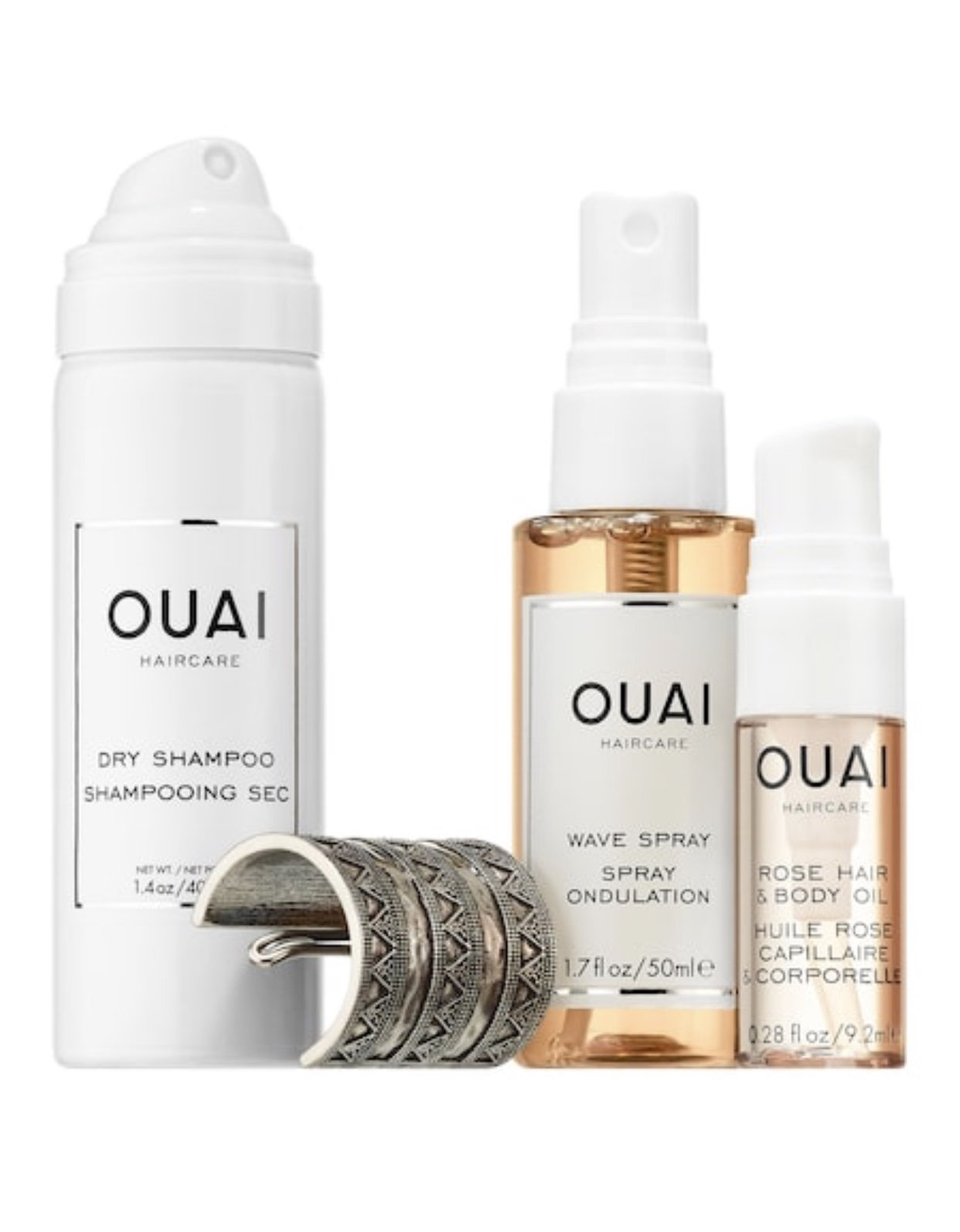 Ouai Desert OUAIsis Festival Kit: Rose Hair & Body Oil, Dry Shampoo Foam, Wave Spray, Jen Atkin x Chloe + Isabel Ponytail Piece (Limited Edition) by Ouai (Image #2)