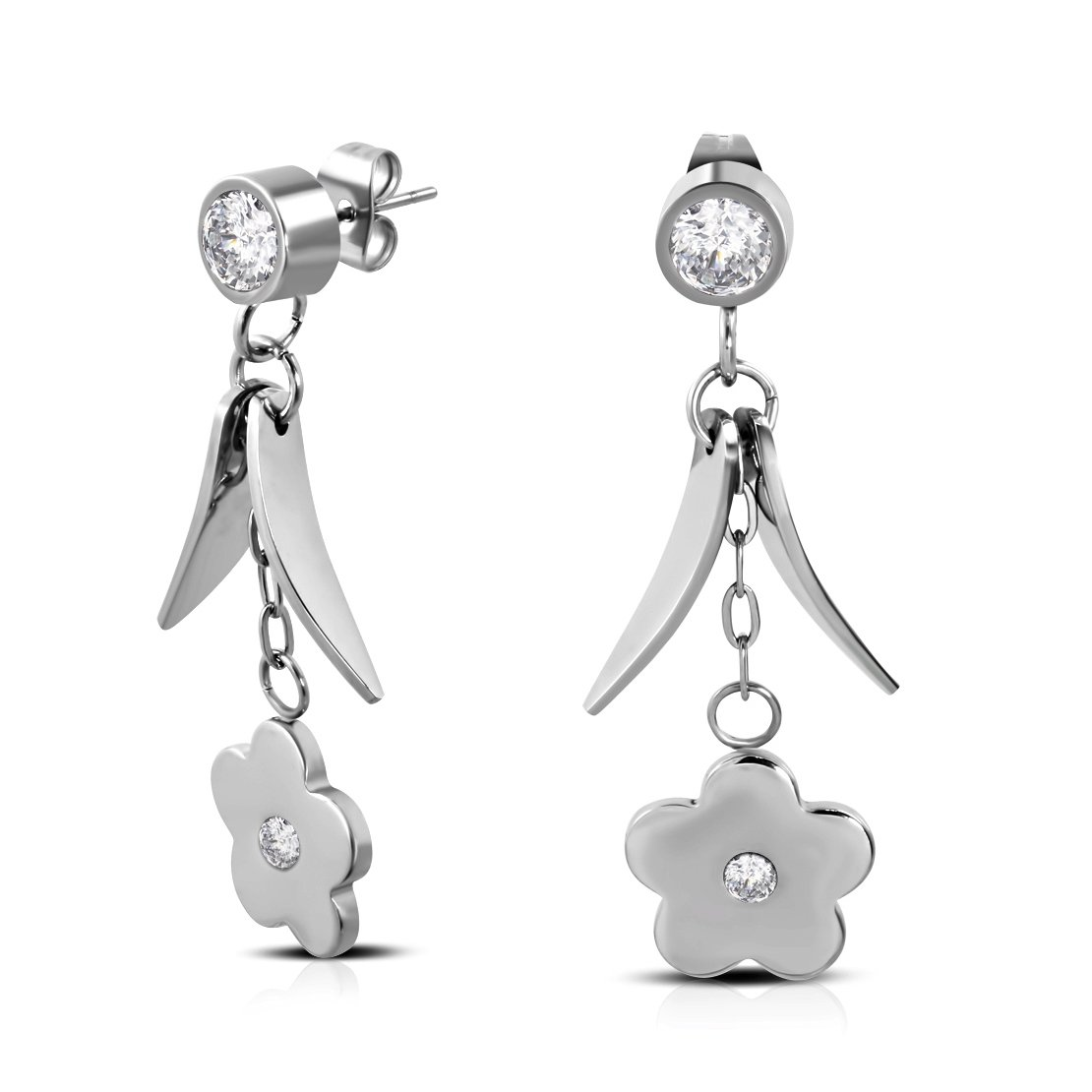 pair Stainless Steel Flower Long Drop Stud Earrings with Clear CZ