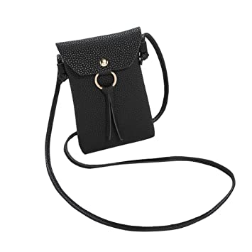 DHOUTDOORS Cell Phone Bag Women Universal PU Leather Mini Crossbody Bag  Coin Phone Wallet Pouch With Shoulder Strap Black  Amazon.co.uk  Luggage 4a3f770238