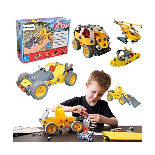 61cnSpw2HJL. SS600  - [Bonus Bag] Simbans JB 148 pcs 5-in-1 Build and Play Toy Set | Kids STEM Educational DIY Building Kit for 8, 9, 10 Year…