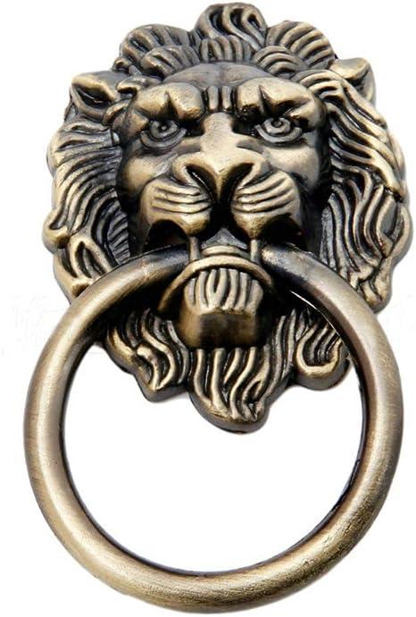 Lion Drawer Pull Knobs Handles Dresser Drop Ring Pulls  Antique Bronze Lion Head Door Knocker Cabinet Knob Handle Vintage Hardware