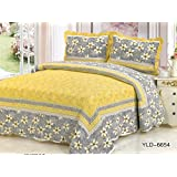 Yellow Luxury 100% COTTON QUILTS 3pc set, Luxury 100% CottonQuilt by UK SHELLAN (Yellow and gray, King)