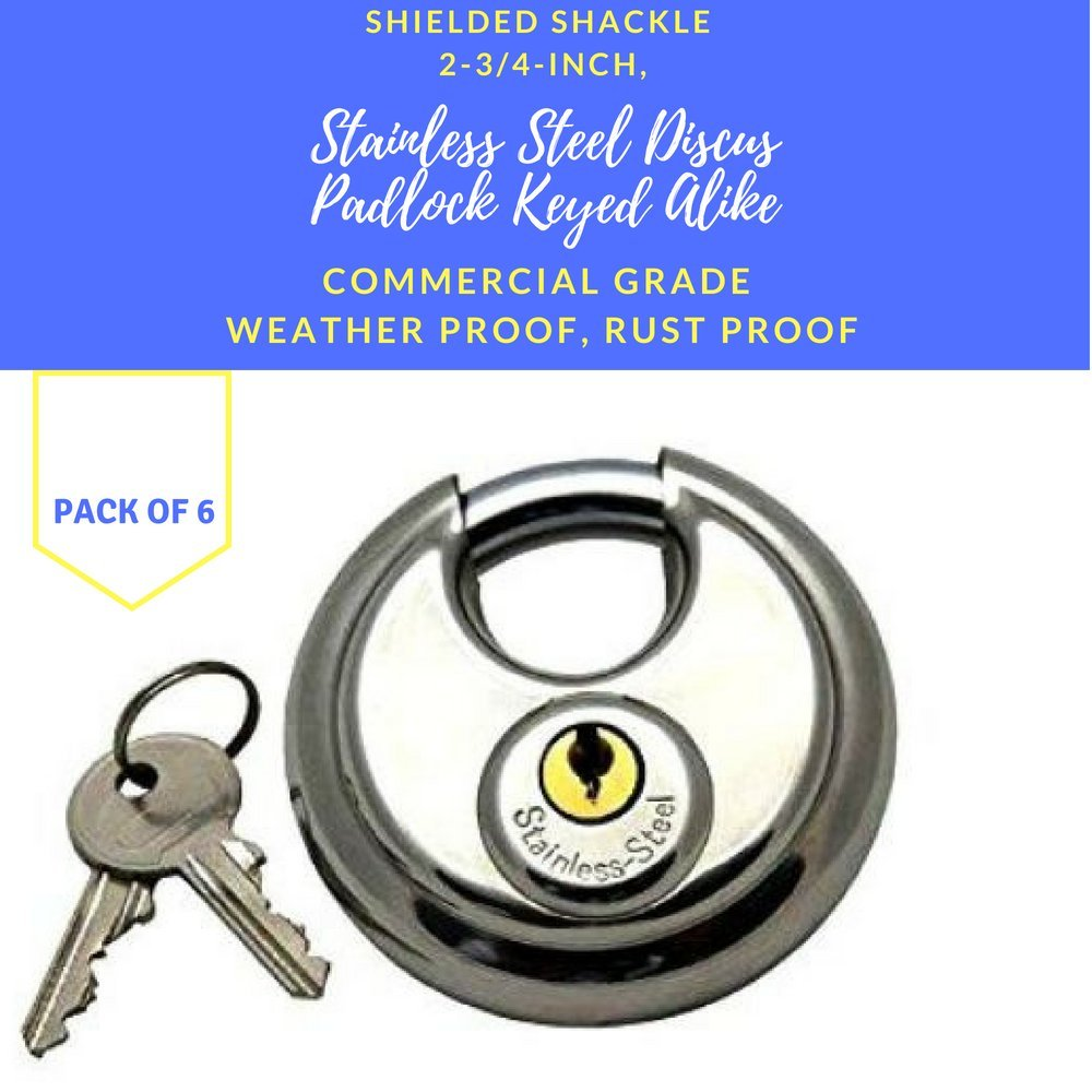 Pack of 6, Stainless Steel Discus Padlocks Keyed Alike 70mm Round Disc Padlock with Shielded Shackle, 2-3/4-inch, Stainless Steel Round Disc Storage Pad Locks All the same key Commercial Grade (6) by Generic