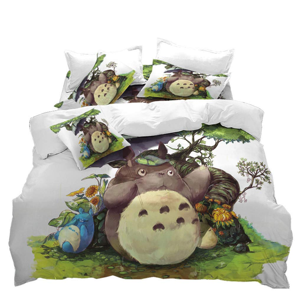 VITALE 5 Pieces Full Size Bedding Set,My Neighbor Totoro Printed Sheets Set,Cartoon Green Tree Bed Set,Duvet Cover,Fitted Sheet,Flat Sheet,2 Pillowcases