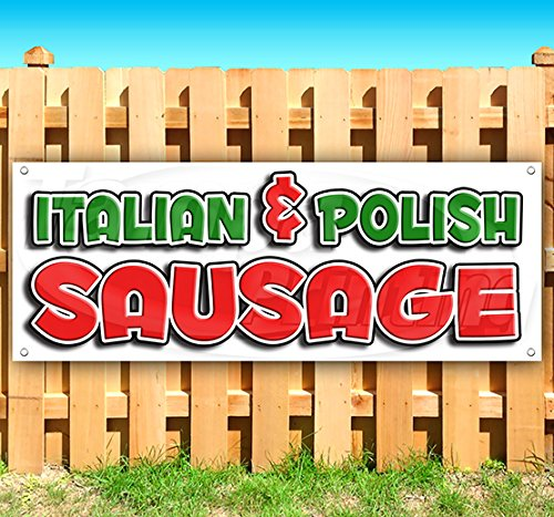 Italian & Polish Sausage 13 oz Heavy Duty Vinyl Banner Sign with Metal Grommets, New, Store, Advertising, Flag, (Many Sizes (Metal Sausage)
