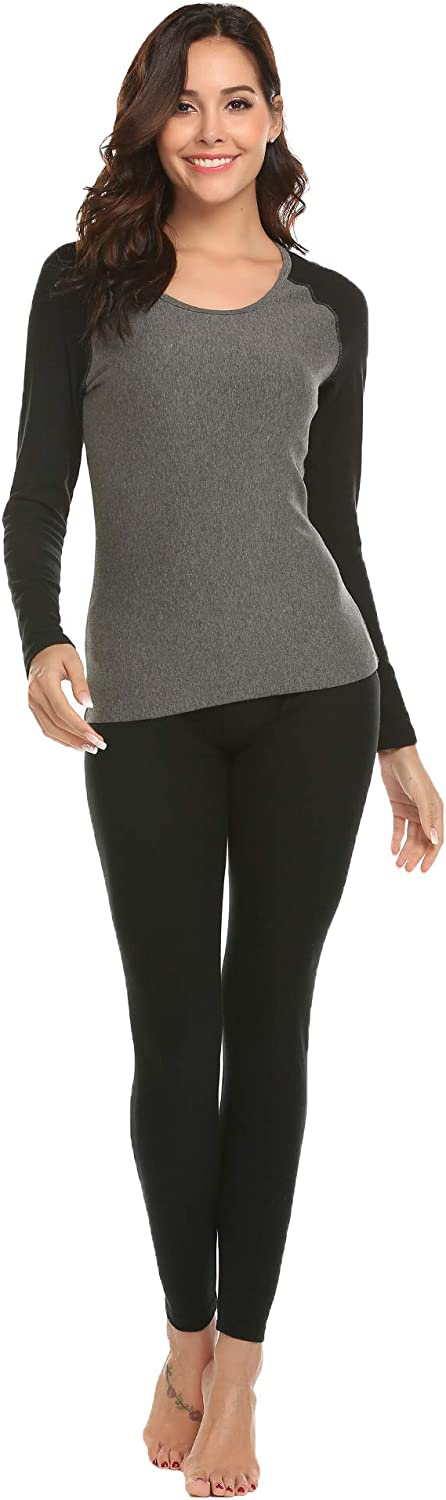 Ekouaer Women's Thermal Underwear Set Warm Long Johns Set Fleece Lined Base Layer Top & Bottom