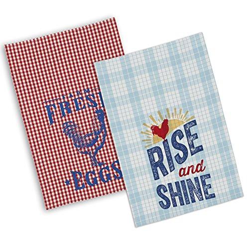 DII 100% Cotton, Machine Washable, Everyday Kitchen Basic Printed Rise N Shine Dishtowel, 18x28