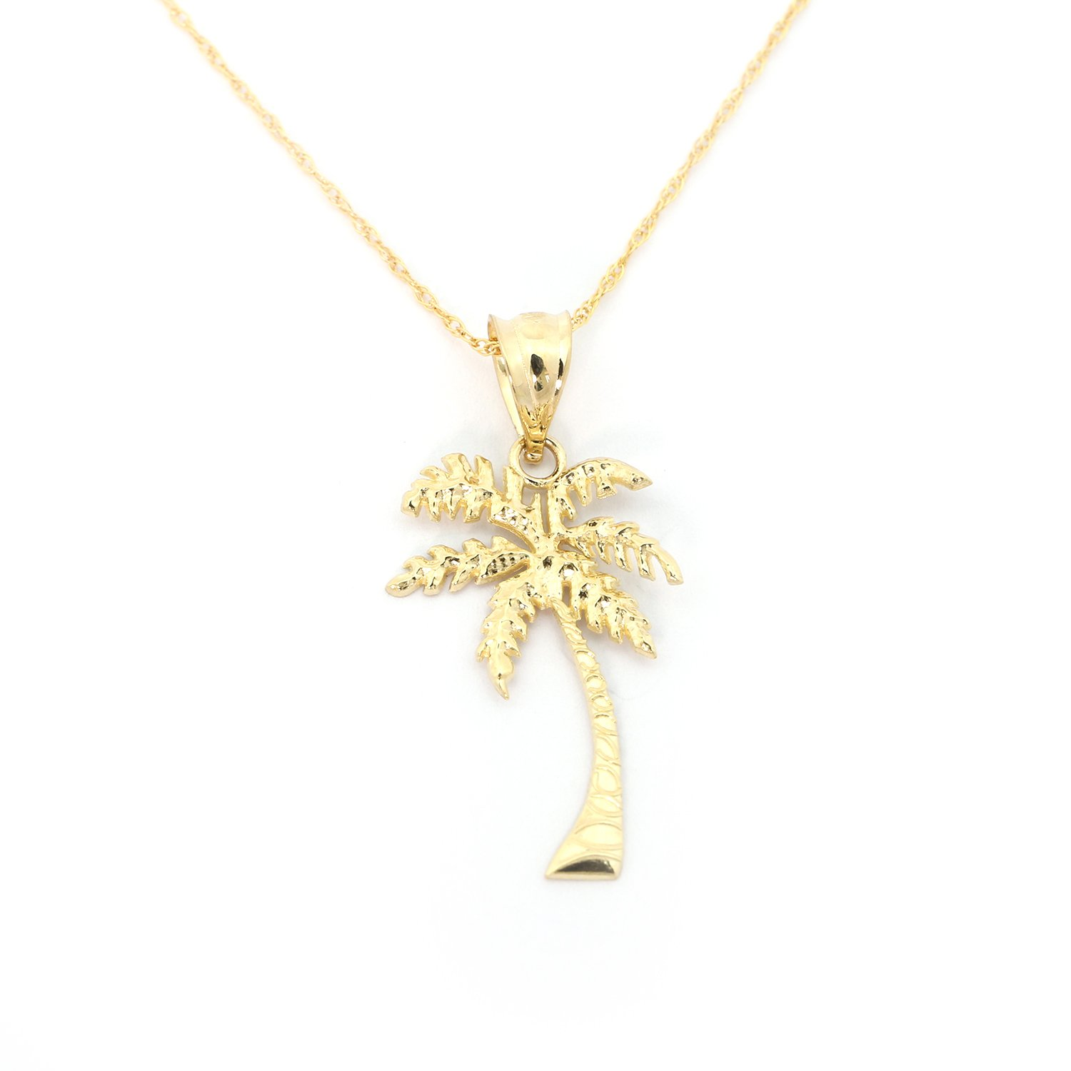 14k Yellow Gold Palm Tree Pendant Necklace - 18''