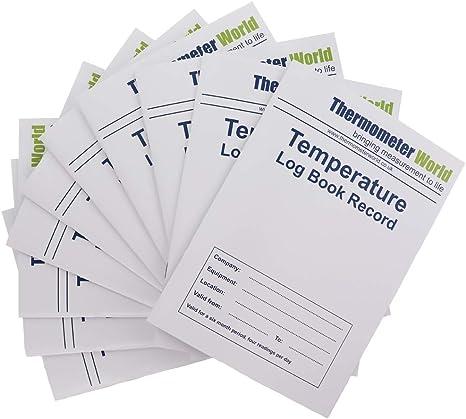 Pack de 10 x Libros de registro de temperatura 6 Meses registros ...