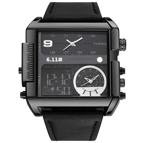 jsdde Relojes, Hombre Reloj de Pulsera LCD Digital + Dual de Reloj de Cuarzo Calendario cronómetro Reloj Resistente al Agua multifunción no.qy31 - 01: ...