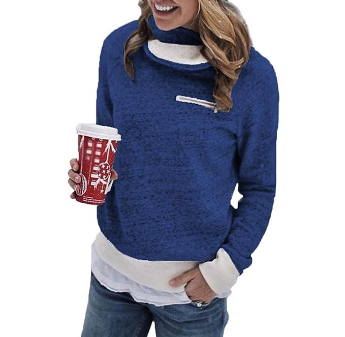 Otoño Invierno Mujeres Cálido Sudaderas Moda Cuello Alto Manga Larga Tops Sweatshirt Jerseys Casual Plush Suéter Blusa Pulóver T-Shirt Jumpers: Amazon.es: ...