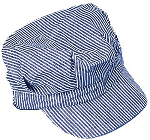 Engineer Hat - Blue and white stripes - Adult Train Engineer Hat
