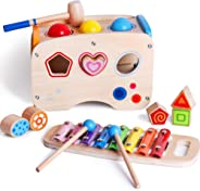 bodolo 3 in 1 Wooden Educational Set Pounding Bench Toys with Slide Out Xylophone and Shape Matching Blocks for Kids Baby To