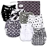 Baby Cloth Pocket Diapers (7 Pack) with 7 Bamboo Inserts and 1 Wet Bag in Modern Patterns for Boy or Girl by Nora's NurseryBaby Cloth Pocket Diapers 7 Pack, 7 Bamboo Inserts, 1 Wet Bag by Nora's Nursery