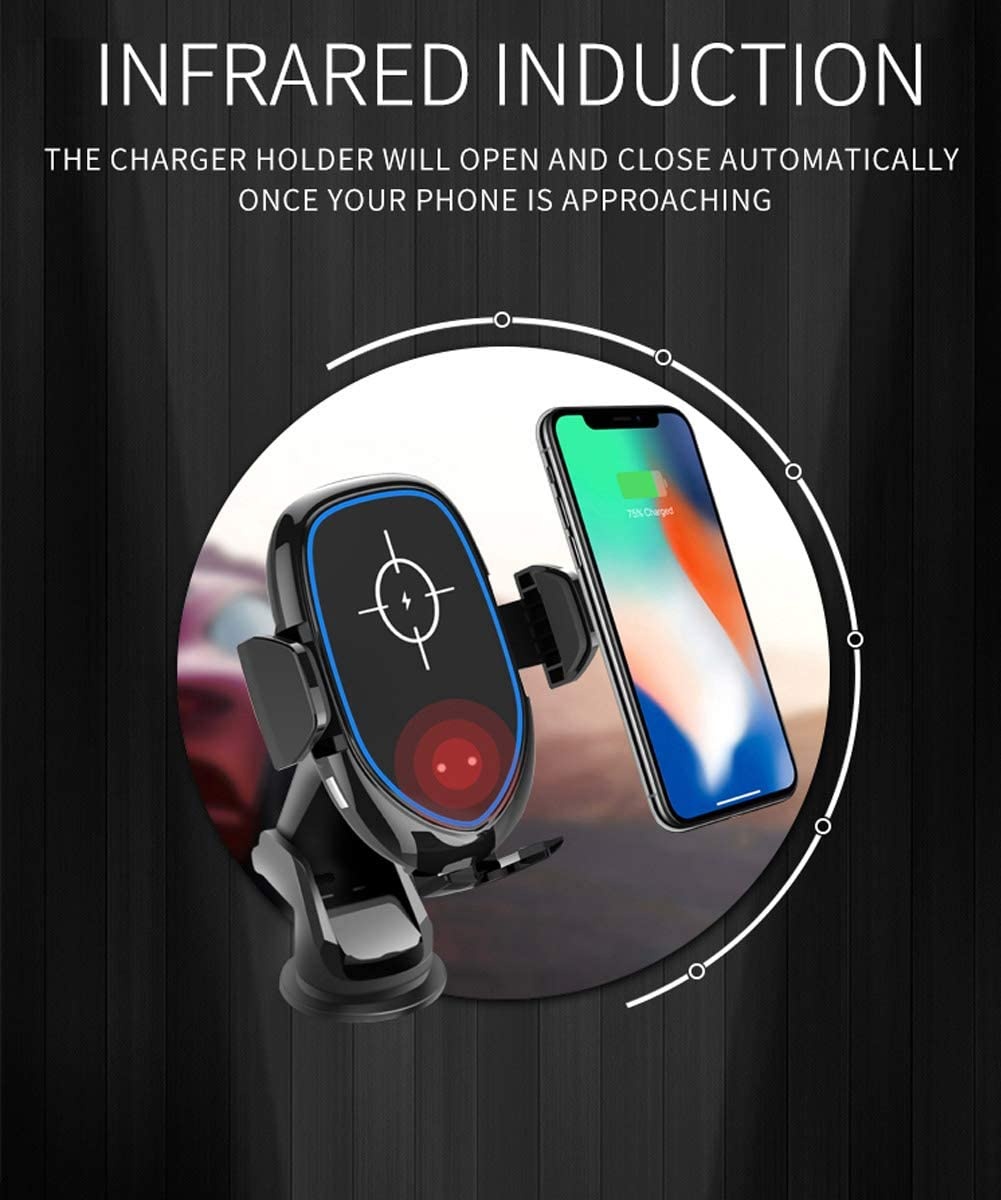 Black Air Vent//Dashboard Holder,Compatible iPhone 11//11 Pro//11 Pro Max//XS Max//XS//XR//X//8,10W Galaxy S9//S8//S7 10W QI Fast Wireless Car Charger,Infrared Sensor Auto-Clamping Mount