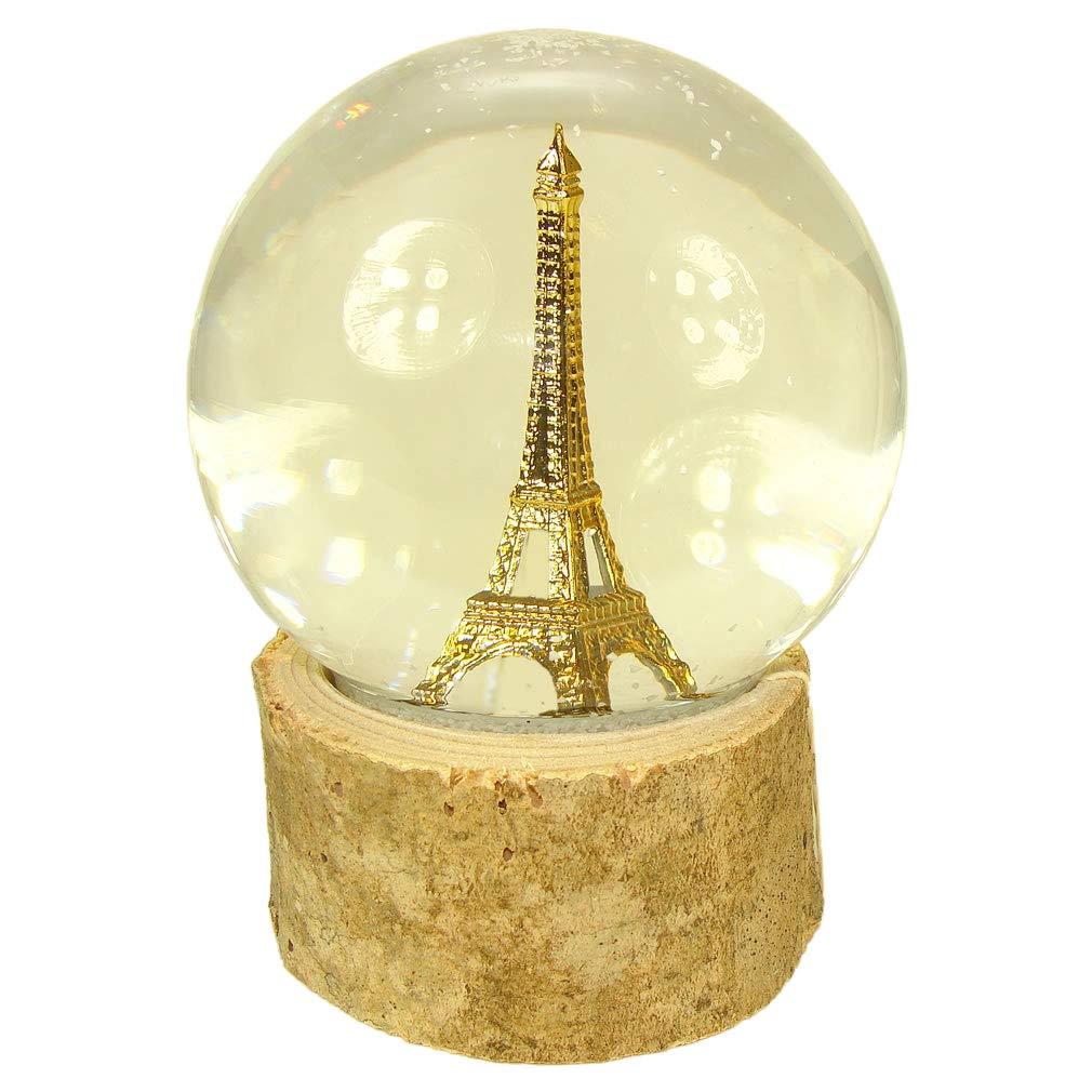 Souvenirs of France Bola de Nieve de Cristal de la Torre Eiffel Sobre Madera Natural Color Beige