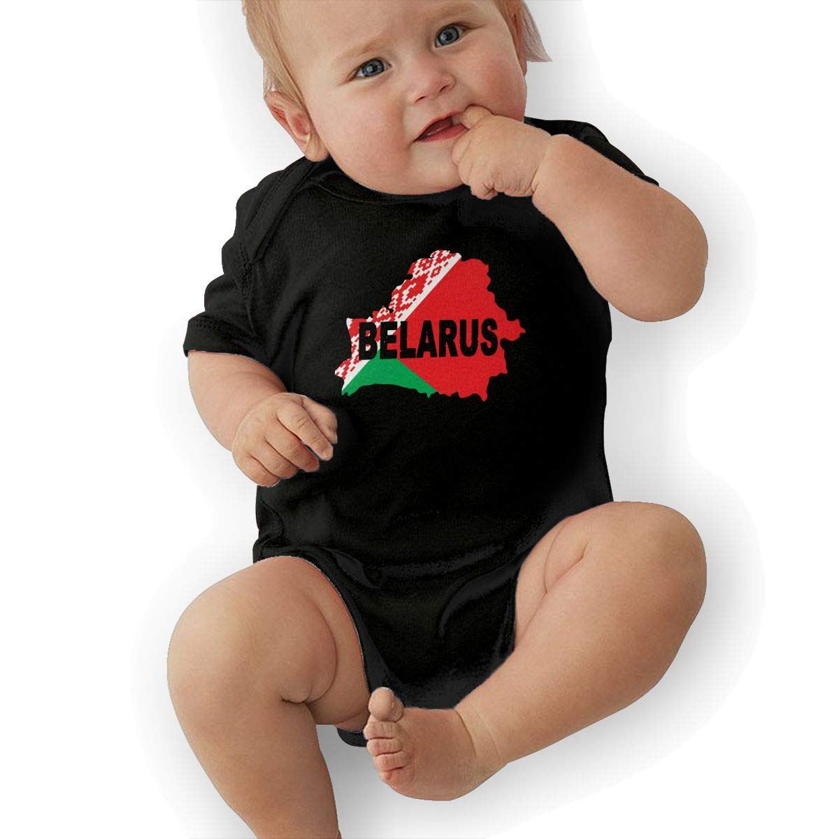 Mri-le2 Newborn Baby Short Sleeve Jersey Bodysuit Belarus Flag Map Infant Romper Jumpsuit