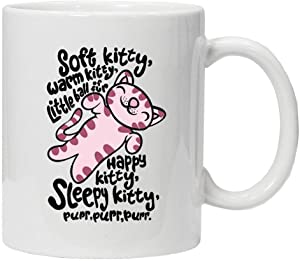 SSSGHH Taza Divertida Big Bang Theory Inspirado Soft Kitty Warm Kitty Sleepy Kitty 11Oz Divertida Taza De Té De Café De Cerámica