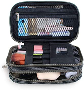 Organizador de Maquillaje, Impermeable Pequeño Bolso Mujer, Doble Capas Estuche Transparente Portátil + Espejo para Pinceles Brochas de Maquillaje, Neceser Maquillaje, Maquillaje Profesional DN167: Amazon.es: Equipaje