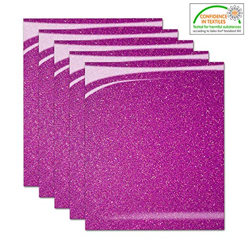 Pumpkin Brother Hot Pink Shiny Glitter Heat Transfer Vinyl Iron On HTV Bundle for DIY Clothes, 12x10 Inch, Pack of 5 Sheets, Eco-Friendly Made in Korea