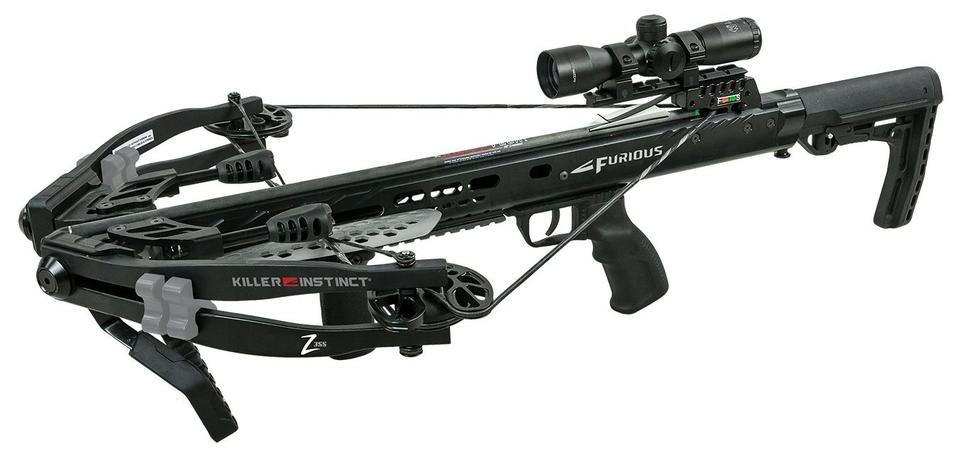 Killer Instinct Furious Z355 - High Performance Crossbow Package - Includes Quiver, Bolts, KI Lumix Illuminated Scope, and Rope Cocker - Featuring 3.5 lb RTT Trigger Technology